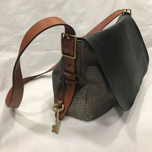 FOSSIL Cross Body Reptile Embossed Leather Bag